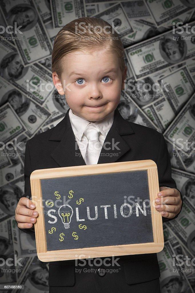Solution black board stock photo