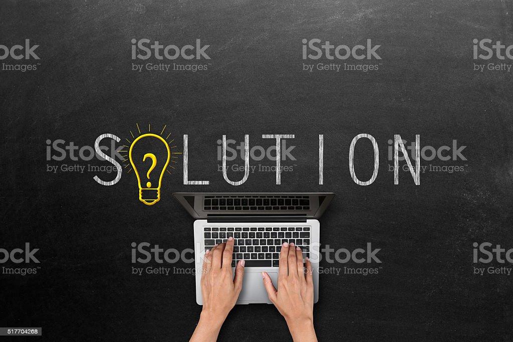 Solution concept on blackboard stock photo