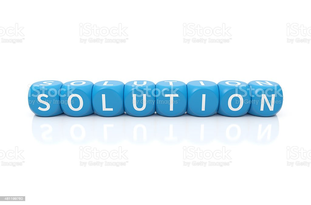 Solution dices blue stock photo