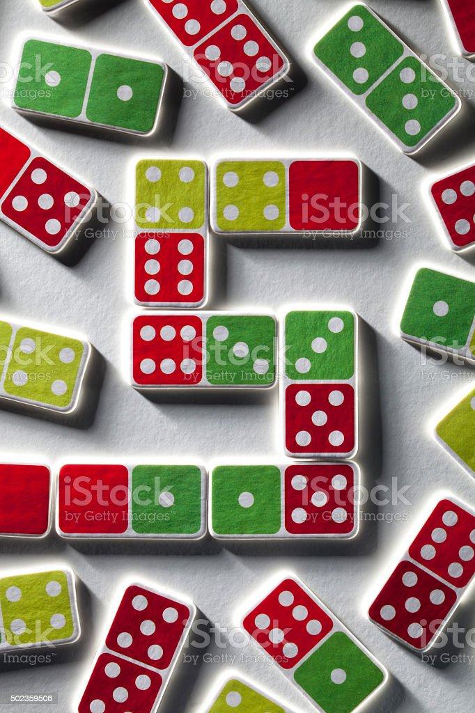 Solution. Dominoes. stock photo