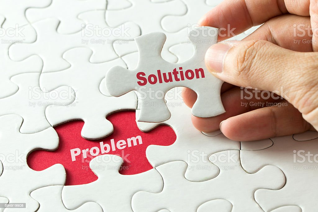 Solution for problem for business metaphor stock photo