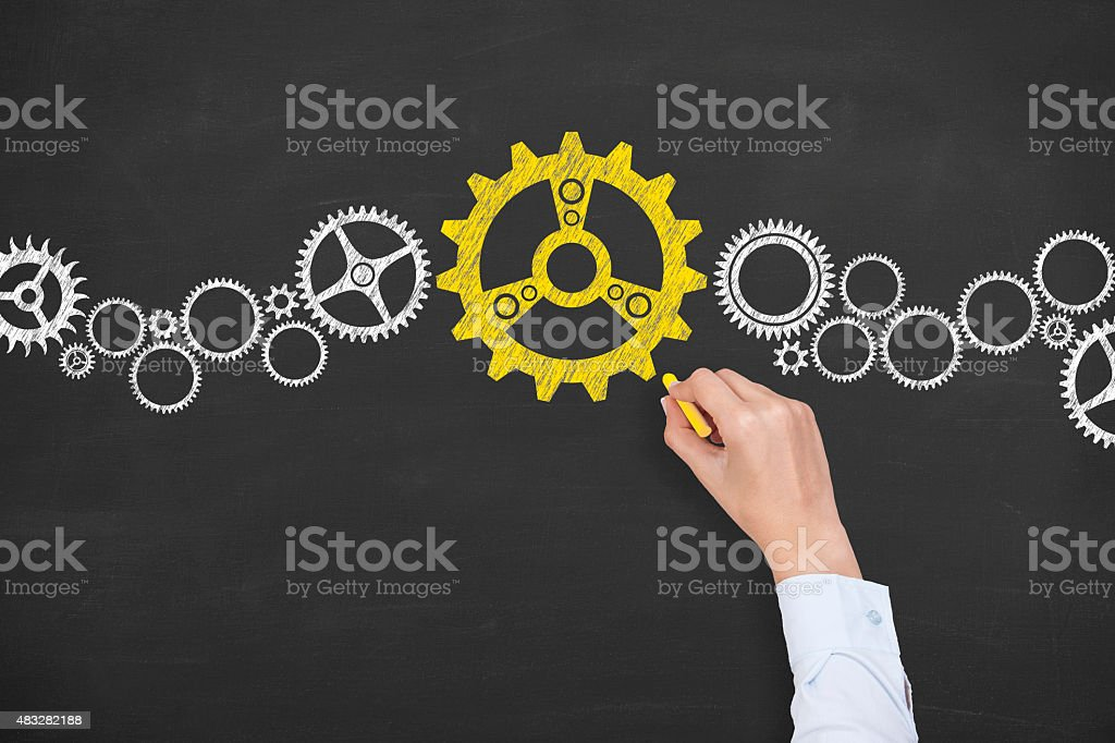 Solution Gear Concept Drawing on Blackboard stock photo
