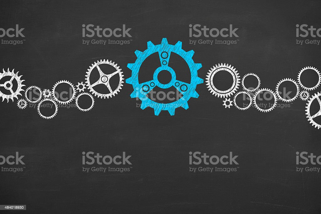 Solution Gear Concept Drawing on Blackboard Texture stock photo