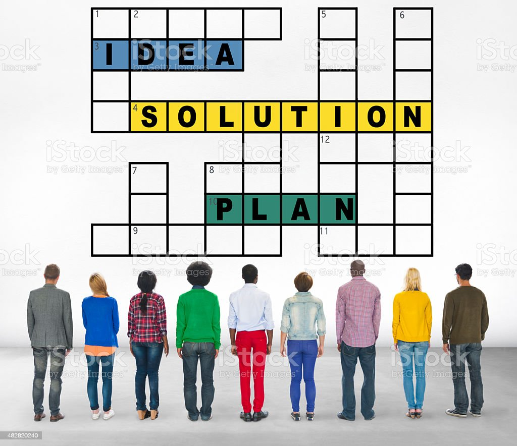 Solution Ideas Plan Solving Result Crossword Concept stock photo