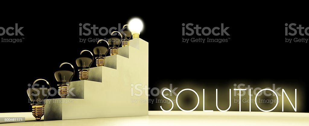 Solution light bulb concept, dark background royalty-free stock photo