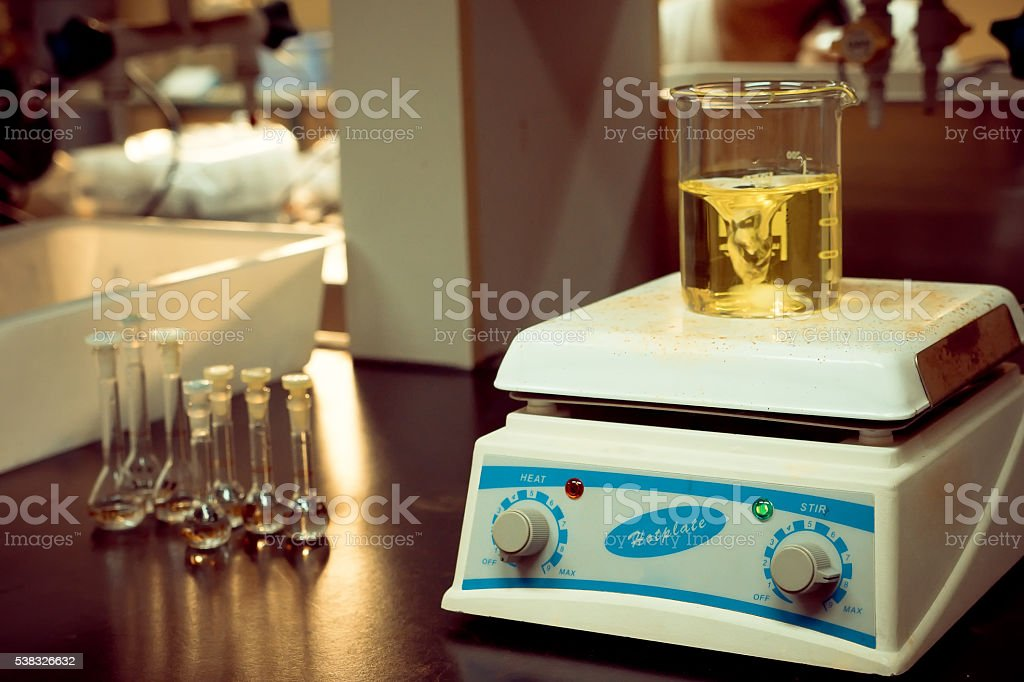 solution mixing on a hotplate stock photo
