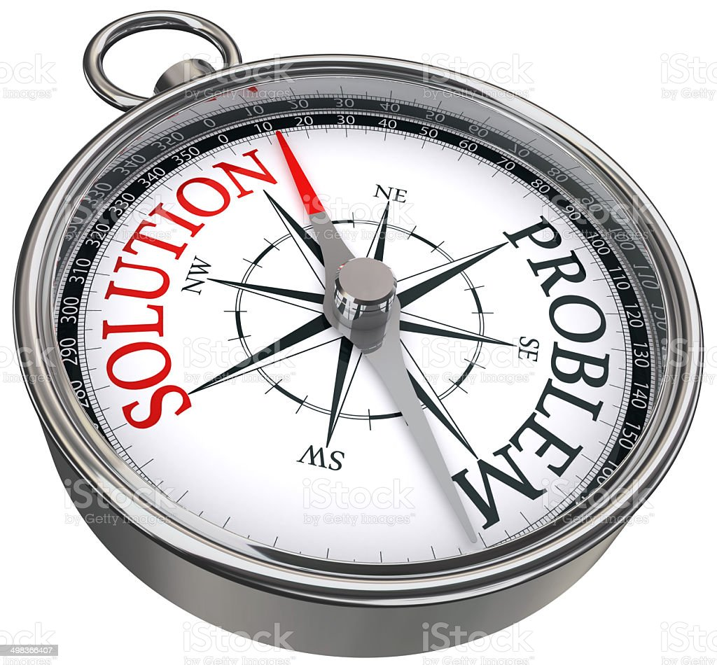 solution problem concept compass stock photo