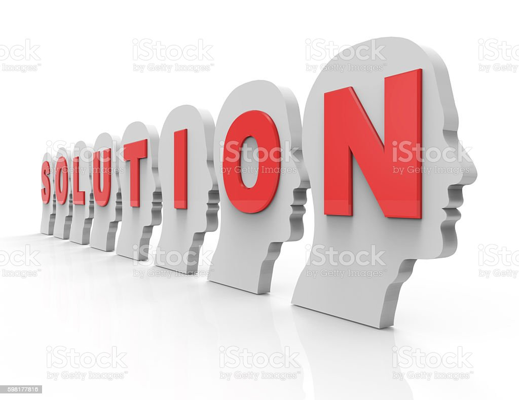 3D solution text on human heads concept stock photo