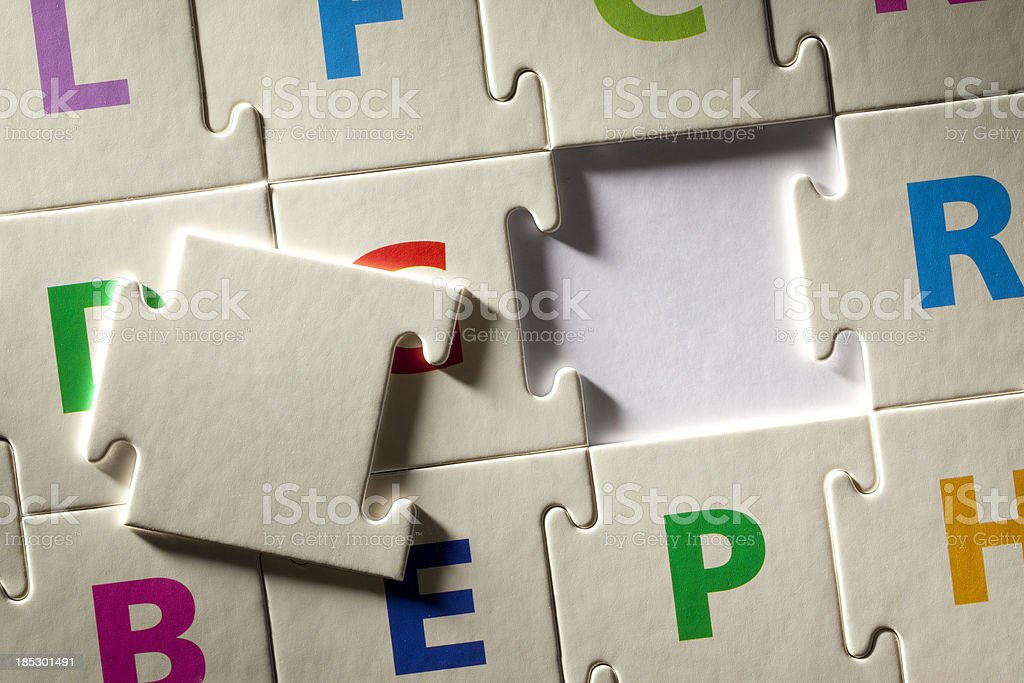 Solution. The last piece of puzzle. royalty-free stock photo