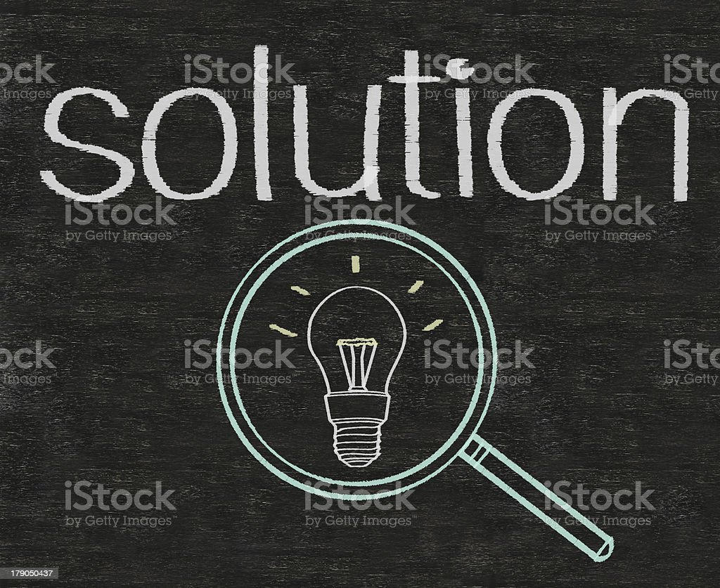solution written on blackboard background high resolution royalty-free stock photo