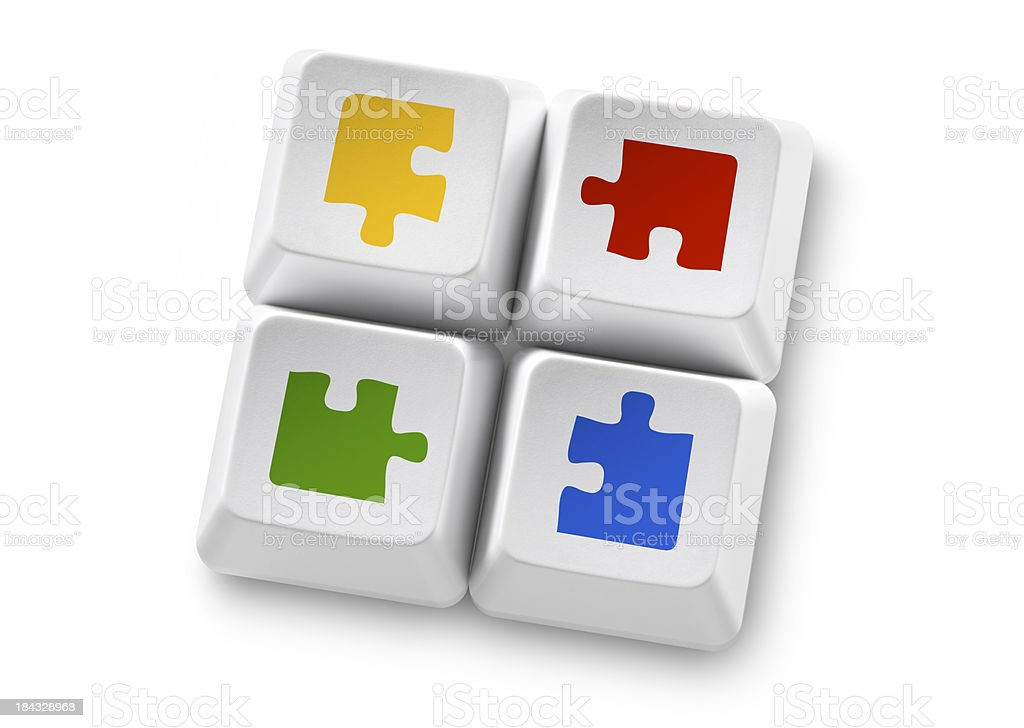 Solutions. Computer keys with puzzle royalty-free stock photo
