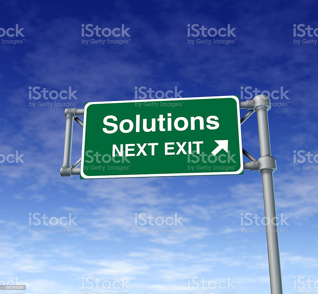 solutions freeway sign royalty-free stock photo