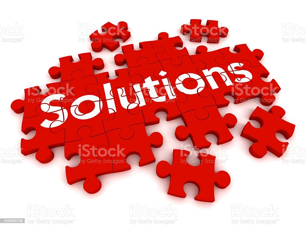 solutions puzzle stock photo