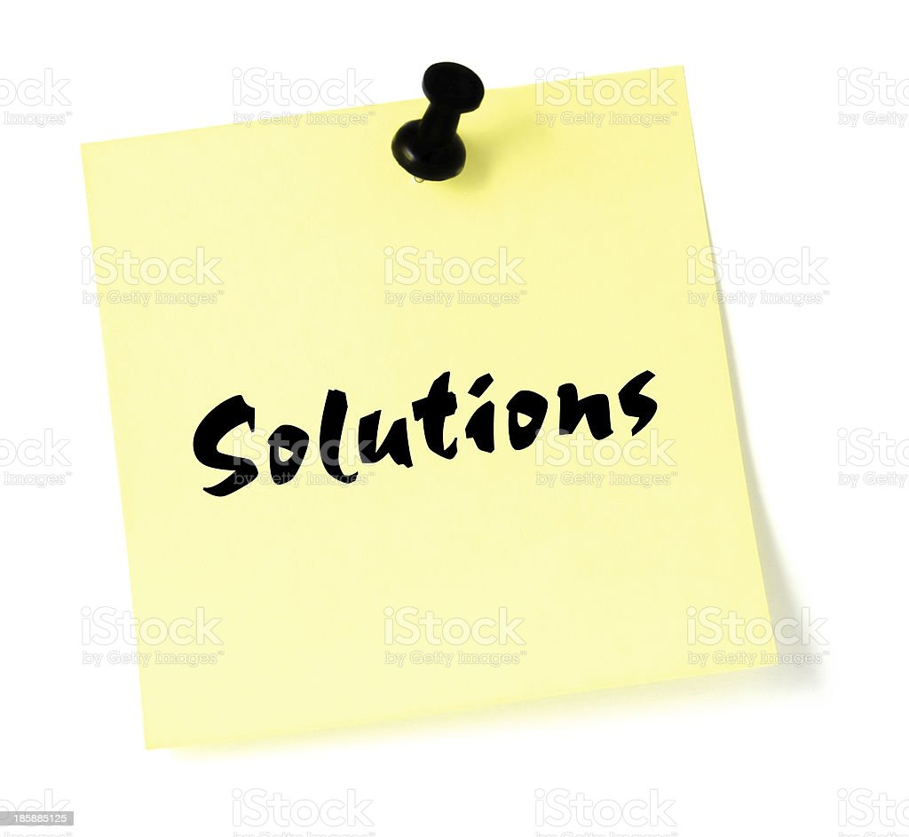 Solutions sticky note isolated yellow sticker black thumbtack pushpin post-it stock photo