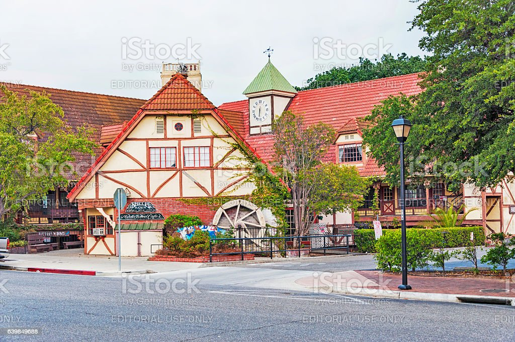 Solvang Architectural Features Cafe and Clock stock photo