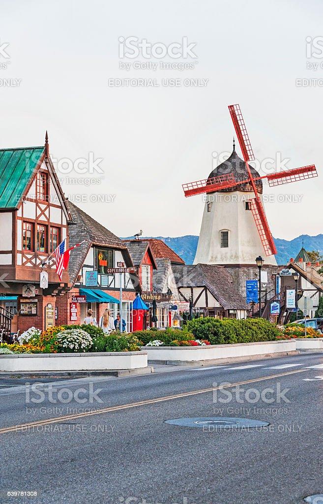 Solvang Danish Community Street Views with Shops Vistors and Windmill stock photo