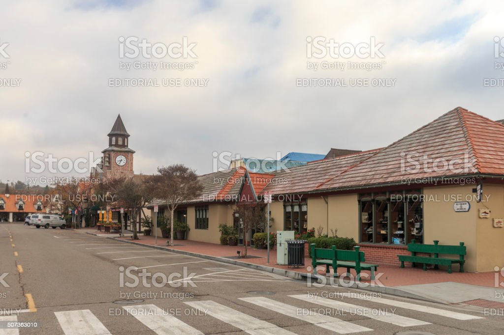 Solvang Danish Style Architectured Shopping Street stock photo