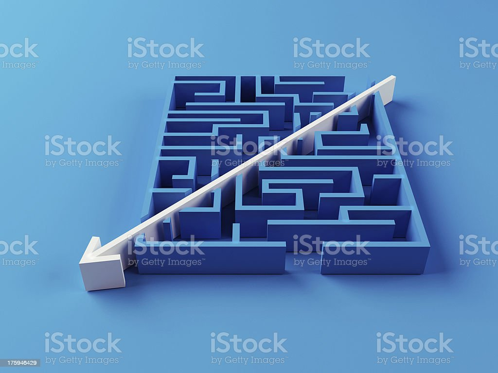 Solved Maze puzzle stock photo