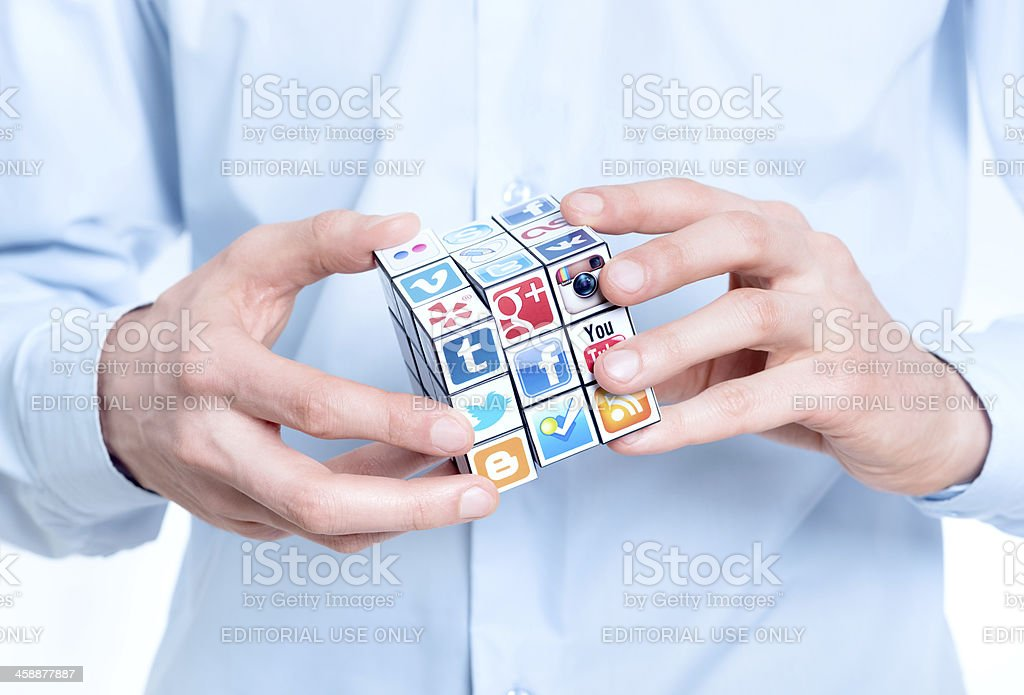 Solving a media puzzle royalty-free stock photo