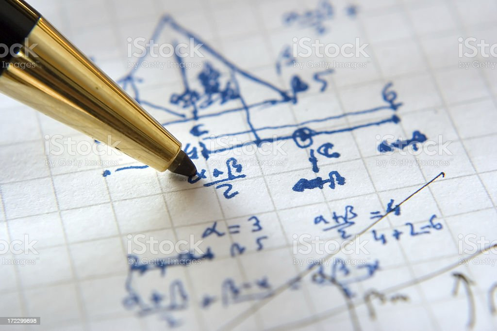 Solving complex mathematical problems (real math) royalty-free stock photo