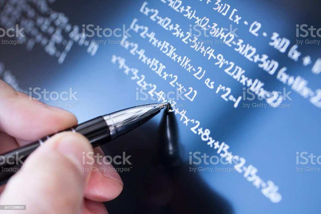 Solving math stock photo