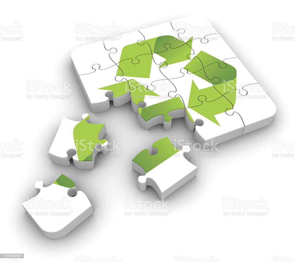 Solving the recycle puzzle royalty-free stock photo