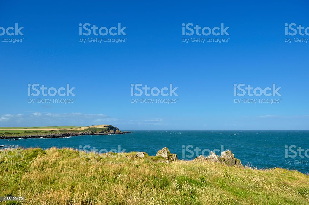 Solway Firth coastline from the Isle of Whithorn in Scotland stock photo