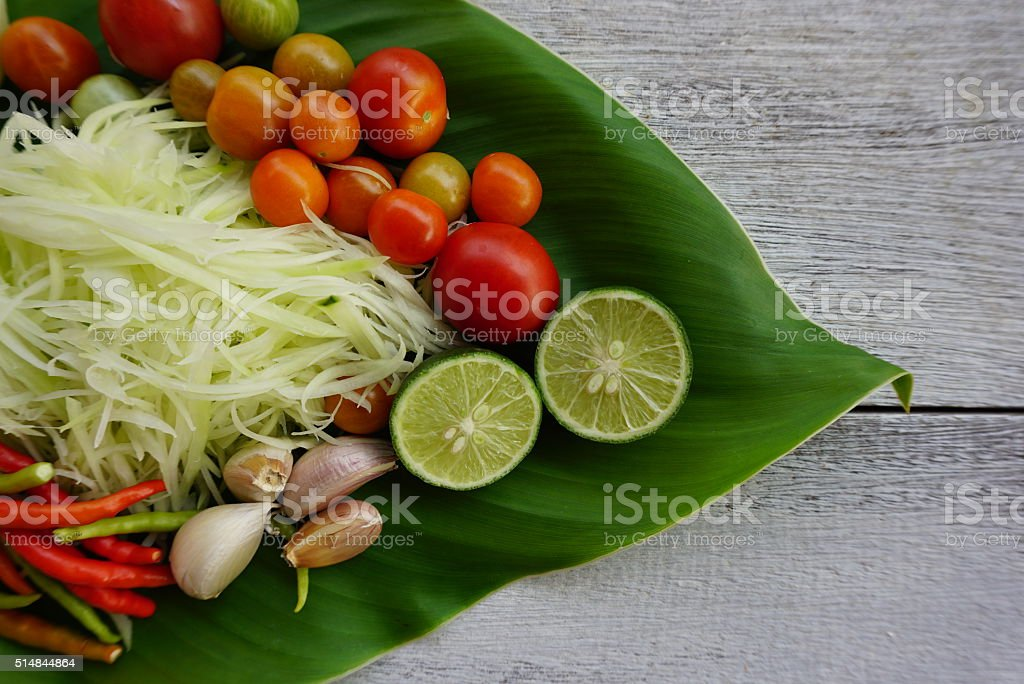 Som Tum Ingredient,Thai spicy and diet food stock photo