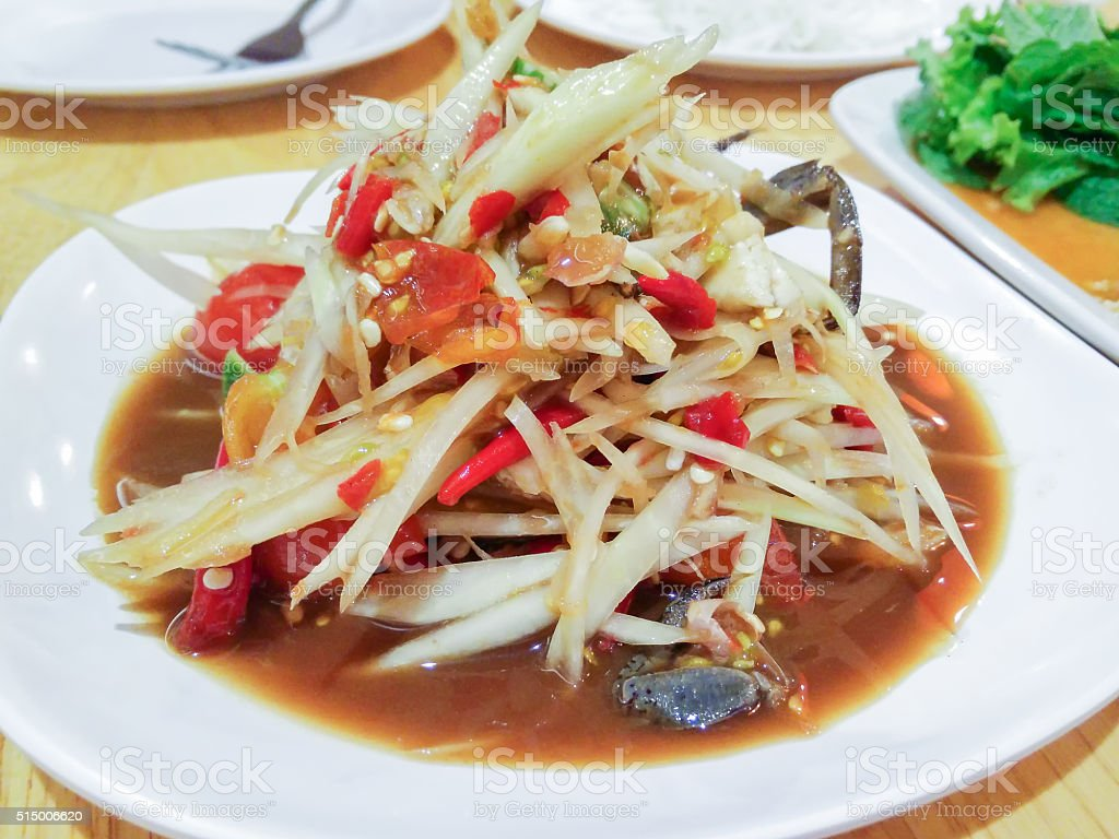 Som Tum Poo, Thai papaya salad with crab. stock photo