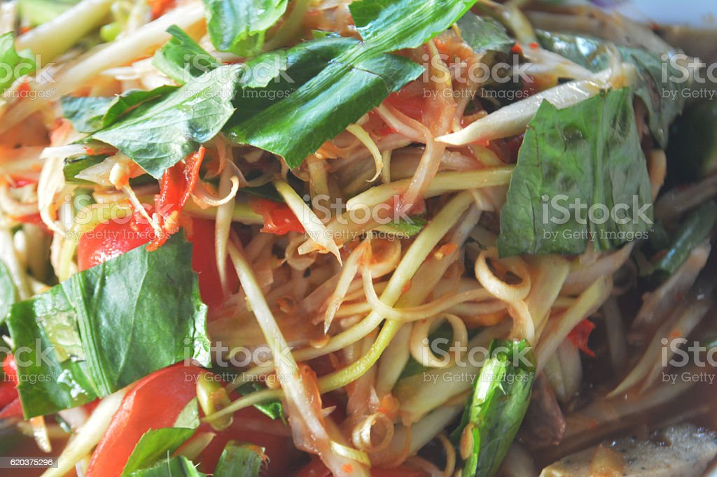Som Tum Thai.Thai style papaya salad spicy food stock photo