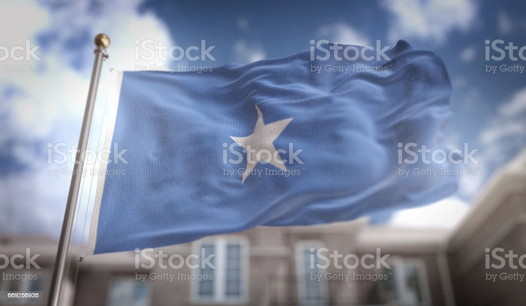 Somalia Flag 3D Rendering on Blue Sky Building Background stock photo
