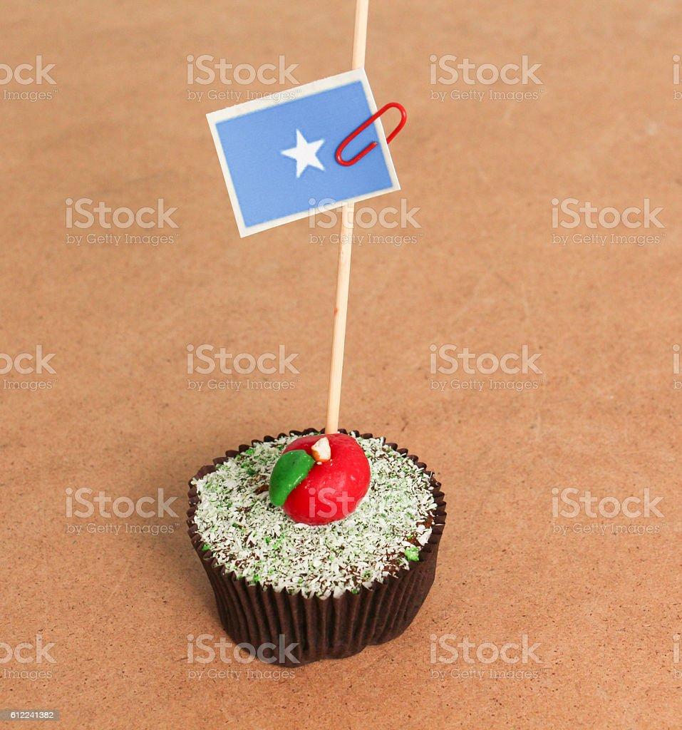 somalia flag on a apple cupcake stock photo
