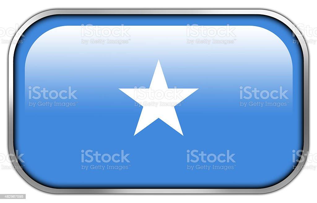 Somalia Flag rectangle glossy button stock photo