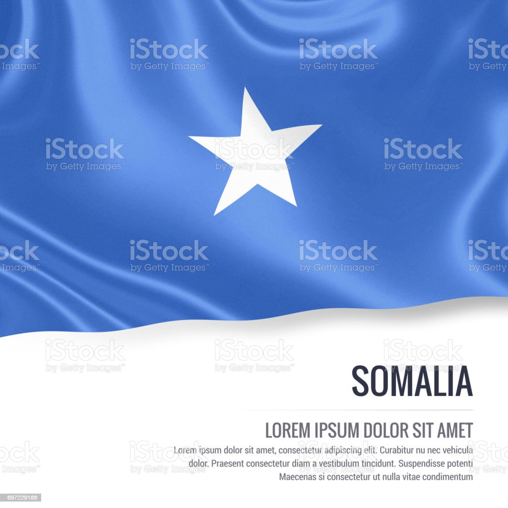 Somalia flag. Silky flag of Somalia waving on an isolated white background with the white text area for your advert message. 3D rendering. stock photo