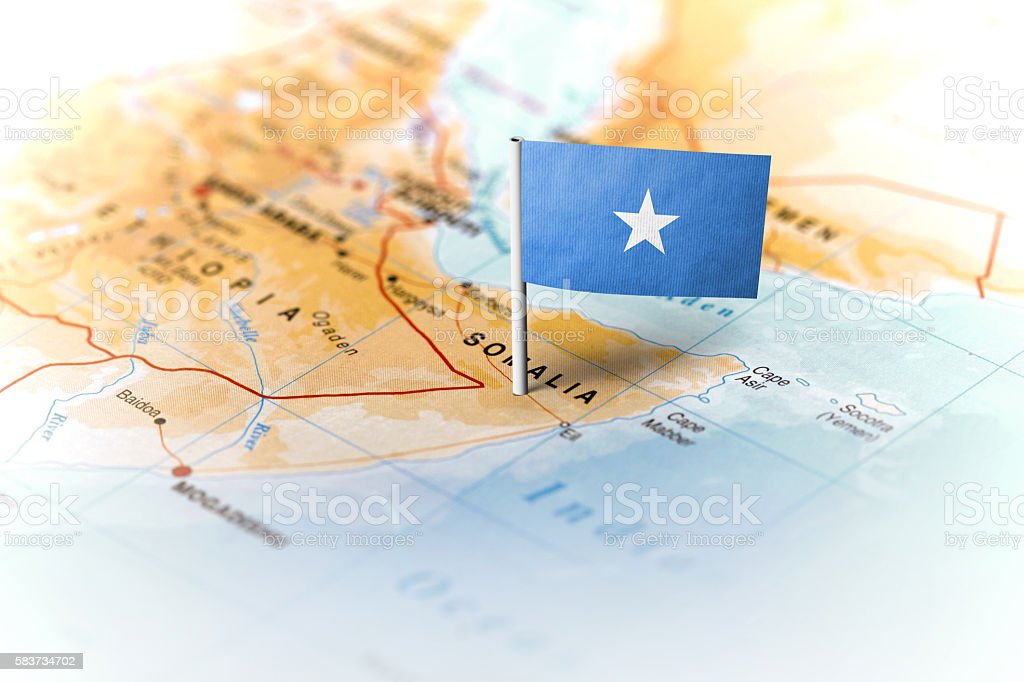 Somalia pinned on the map with flag stock photo
