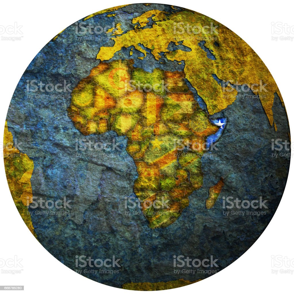 somalia territory with flag on map of globe stock photo