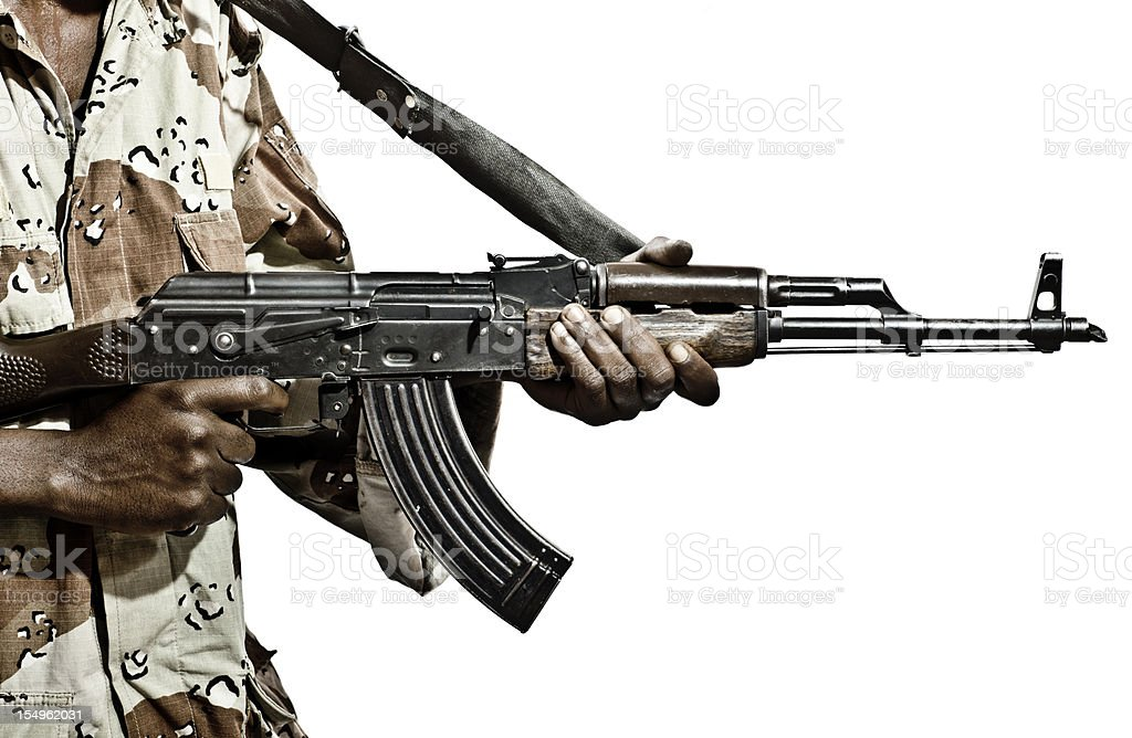 Somalian Soldier with a Machine Gun royalty-free stock photo