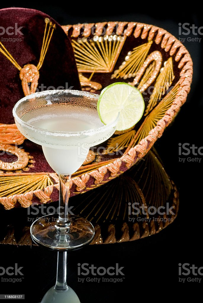 Sombrero and Margarita Cocktail stock photo