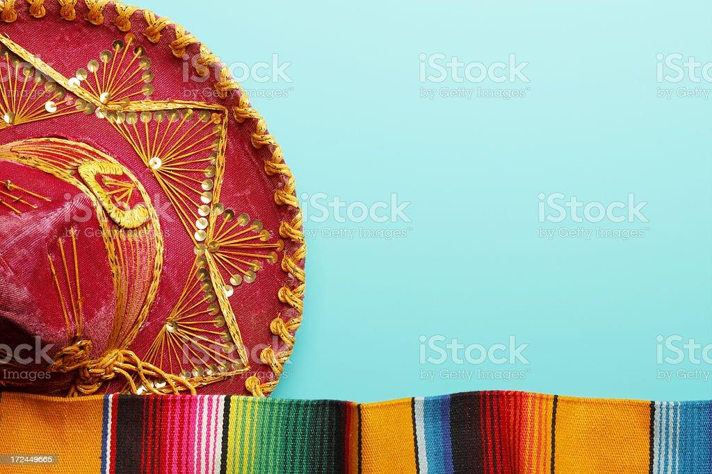 Sombrero and Mexican Blanket stock photo