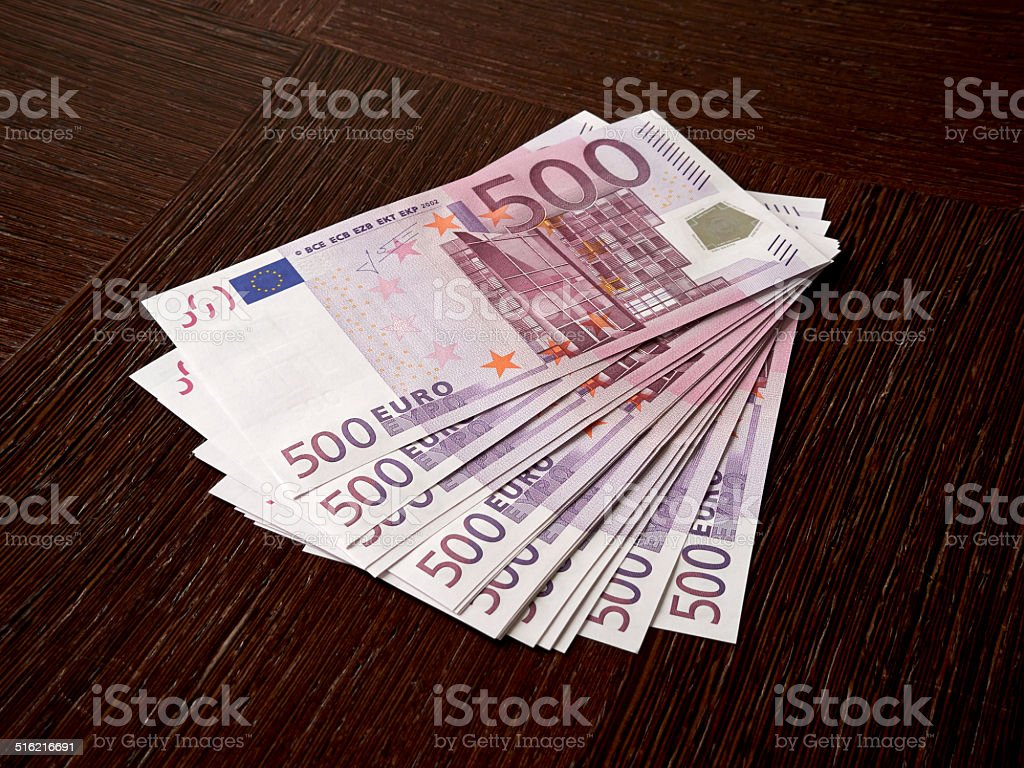 Some 500 Euro bills stock photo