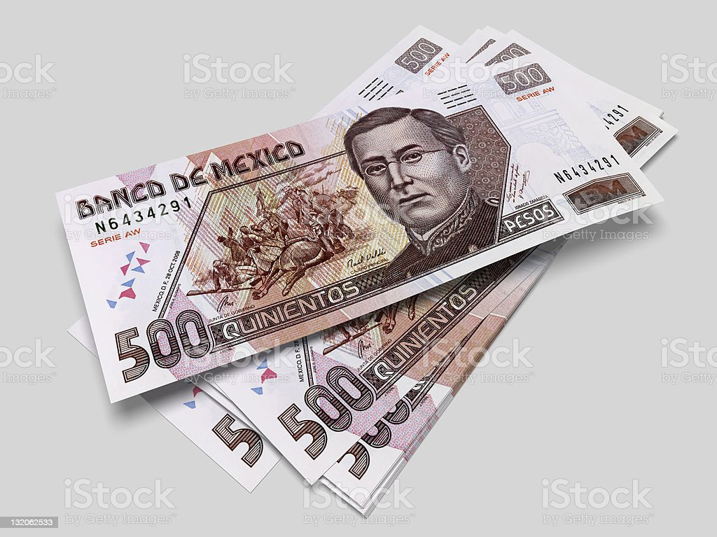 Some bills of five hundred Mexican pesos stock photo