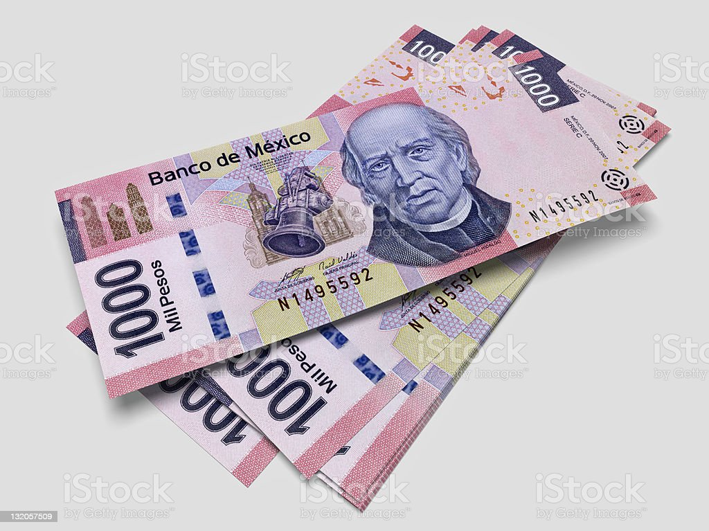 Some bills of one thousand Mexican pesos stock photo