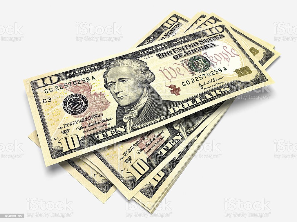 Some bills of Ten Dollars stock photo
