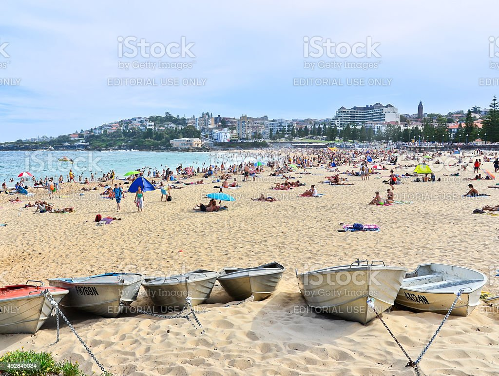 Some boats chained at Coogee Beach stock photo