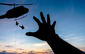 some body need  for help from a military helicopter rescue