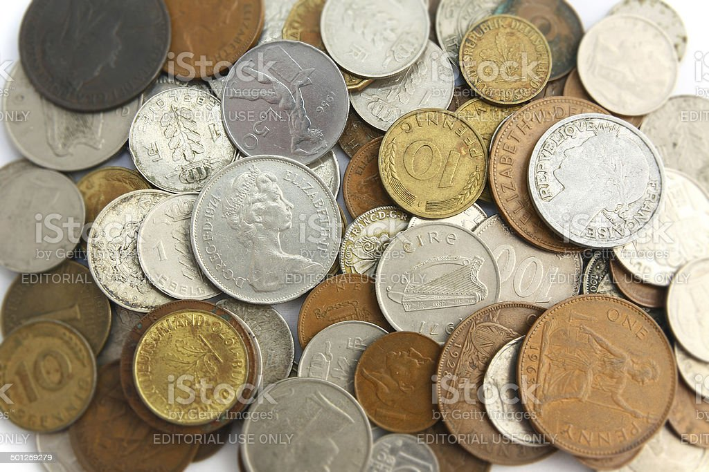 Some coins in the world stock photo