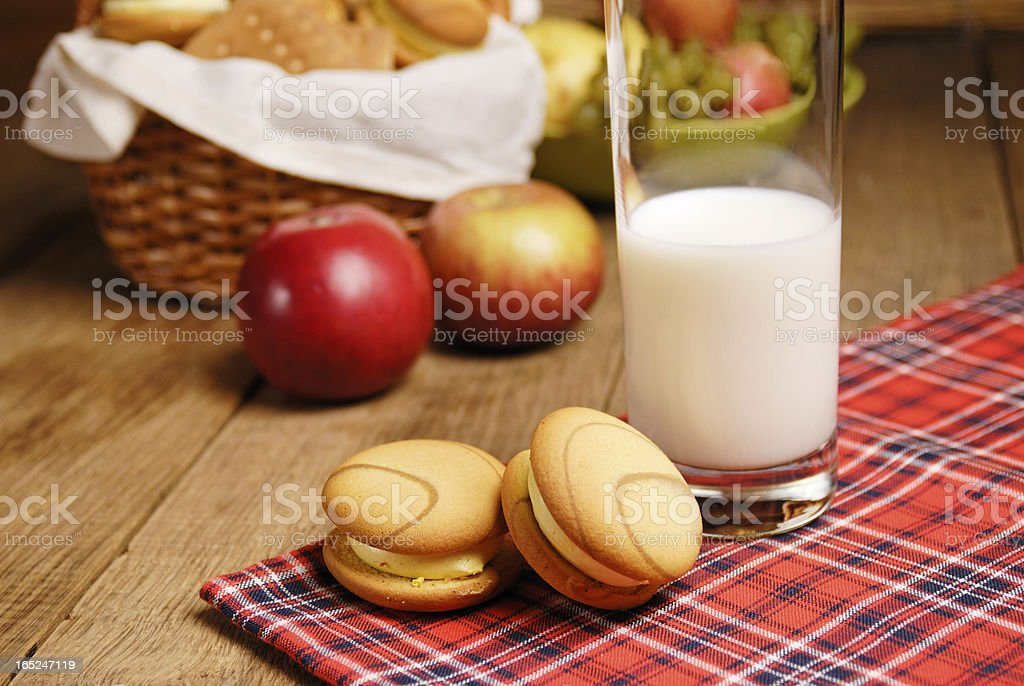 Some cookies and a glass of milk royalty-free stock photo
