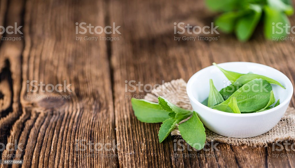 Some fresh Stevia leaves (selective focus) stock photo