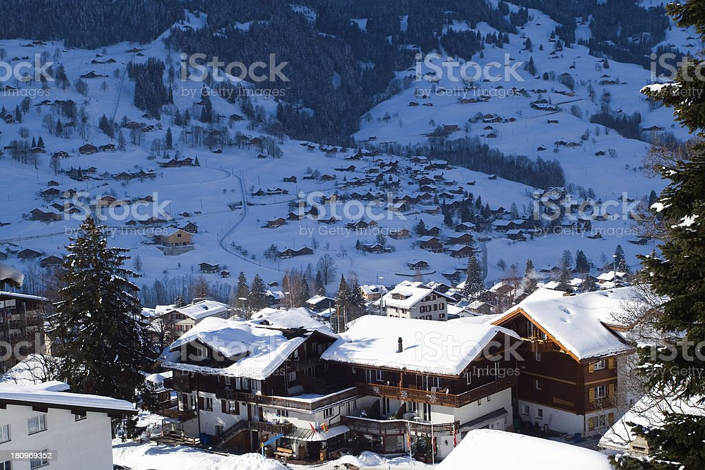 Some hotels near the Grindelwald ski area royalty-free stock photo
