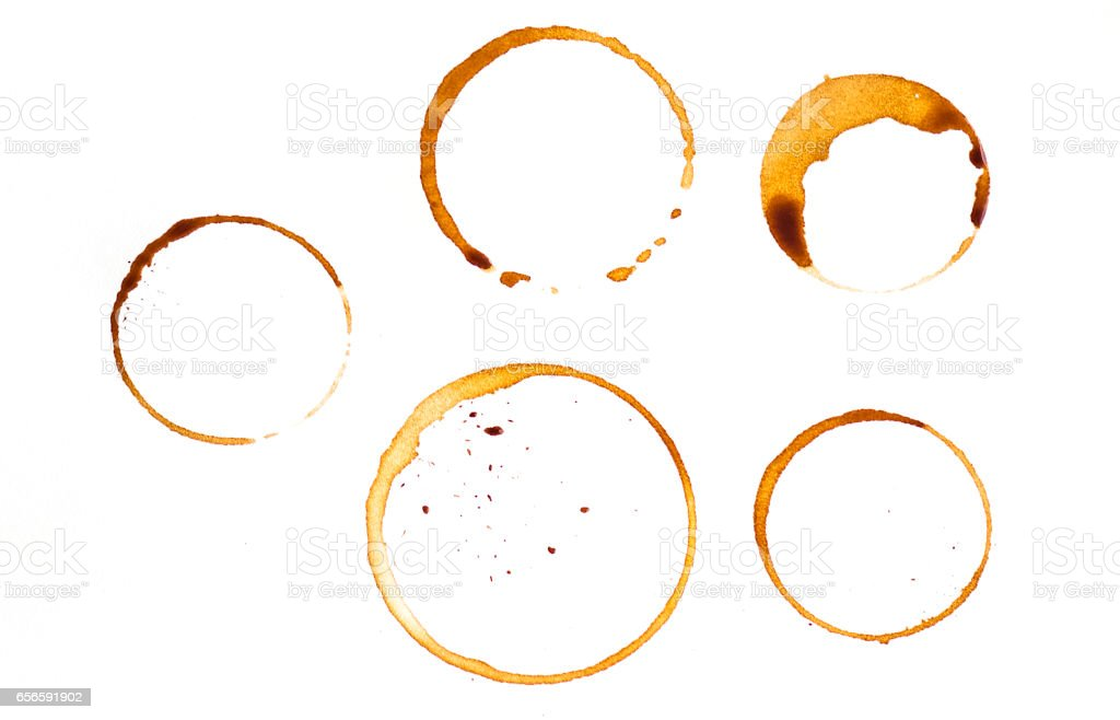 Some kind of coffee cup rings isolated on a white background stock photo